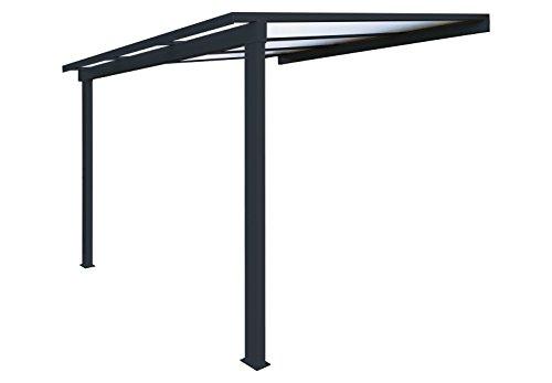 960568213292e9 Pergola en aluminium classique adossée toiture en polycarbonate 16 mm avec  gouttière - Gris - 3x3m