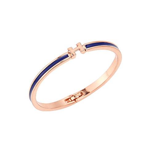 and Rosa Vergoldet Emaille Alphabet H Armreifen (blau) (H Armband Armreif)