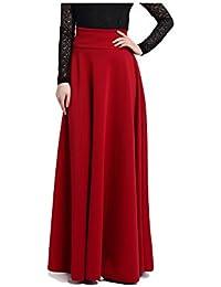 475a336da8c9 BiilyLi Femmes Jupe plissée Haute Taille Longue Jupe - élégant en Jupe Midi  Maxi Long Mode