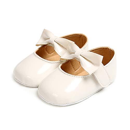 Ortego Baby Mädchen Prinzessin Bowknot Schuhe Kleinkind Anti-Rutsch Party Ballerinas Schuhe Weiß 0-6 Monate