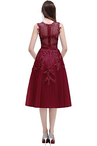 Damen Elegant Applique Tüll Abiballkleid Abendkleid mit Perlen Knilang Weinrot 46