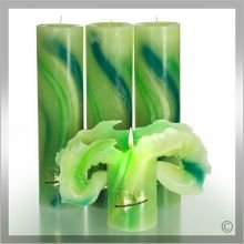 Lotuskerze Aquarell grün 28cm