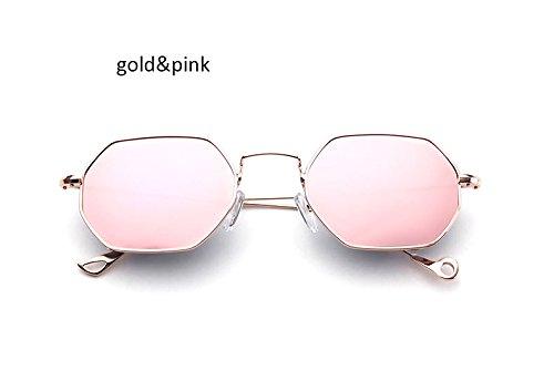ZHANGYUSEN Fashion Small Hexagonal Square Sunglasses Women New Brand Designer Men Vintage Metal Frame Mirror Sun Glasses Female,Gold Pink