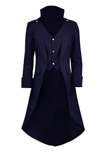 Jungen Mädchen Steampunk Vintage Frack Jacke Gothic Vampir Viktorianischen Kostüm Mantel (Lila, ()