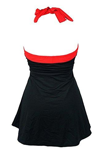 Aidonger Damen Pin-Up Bikini Sets Neckholder Einteilige Bademode mit integriertem Rock EU32-EU46 Schwarz