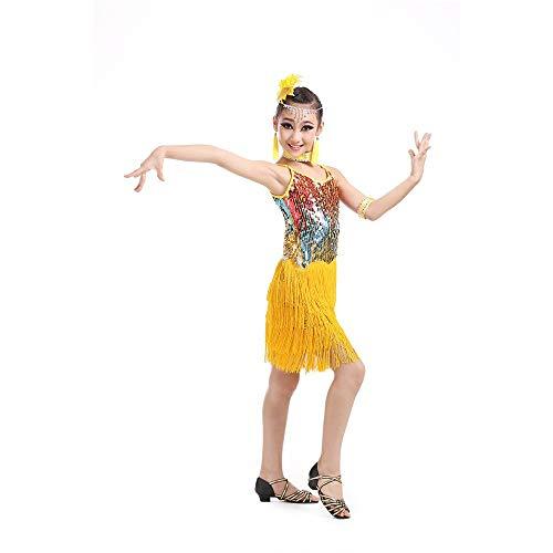 Kostüm Cosplay Prinzessin Mädchen Latin Rumba Salsa Cha Cha Tango Tanzkleid Kinder Kinder Sleeveless Pailletten Fransen Bühnen Performance Wettbewerb Ballroom Dance Kostüme Schicke - Wettbewerb Ballroom Dance Kostüm