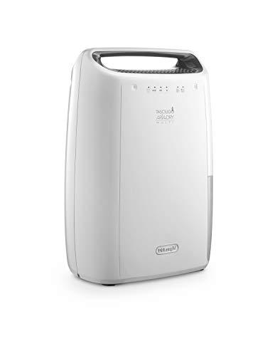 De'Longhi DEX14 Deshumidificador silencioso, función secado y purificador, 210 W, capacidad deshumidificación 14L/24h, depósito extraíble 2.1 l, filtro anti-polvo lavable, color blanco