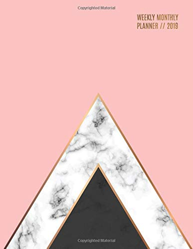 Weekly Monthly Planner 2019: Geometric Marble + Pink | Motivational Quotes, Habit Trackers + More