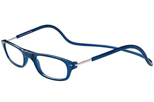 TBOC Lesebrille Lesehilfe für Herren und Damen - Dioptrien +2.00 Blau Fassung Brillen mit Stärke Faltbare Einstellbare Trend Frau Mann Senior Magnetverschluss Clip Alterssichtigkeit Presbyopie