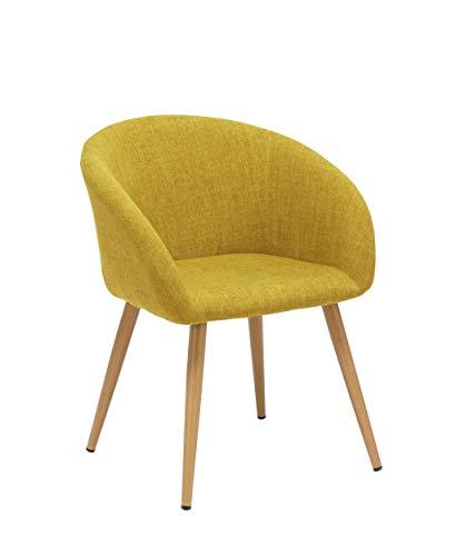 Sedia da sala da pranzo in tessuto (lino) colore giallo design retro con piedini in metallo effetto legno sedia imbottita cucina vintage selezione colore duhome wy-8023