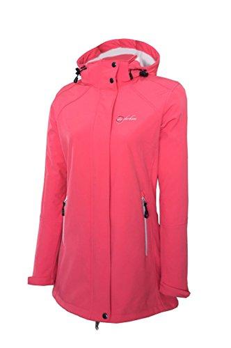 Dry Fashion Damen Softshell Mantel Sylt Regenmantel Parka Funktionsmantel Kapuze, Größe:52, Farbe:Coral
