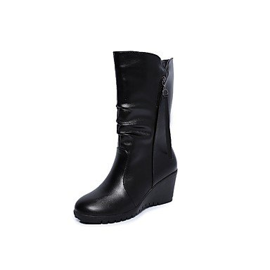 RTRY Scarpe Donna Pu Fall Winter Snow Boots Fashion Stivali Stivali Tacco A Cuneo Punta Tonda Ginocchio Stivali Alti Per Party &Amp; Sera Nero Black Noi6.5-7 / Eu37 / Uk4 5-5 / Cn37 US7.5 / EU38 / UK5.5 / CN38
