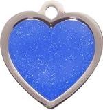 Pet-Tags Bow Wow Meow mit Personalisierung Blaue Haustiermarke glitzerndes Herz (Klein) | GRAVURSERVICE | Personalisierte, moderne Design-Haustiermarken