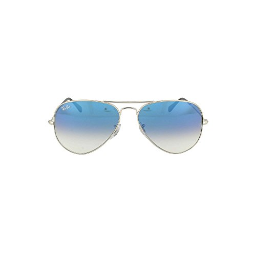 Ray Ban RB3025 Aviator Sonnenbrille 58 mm, Silver / Crystal Gradient Light Blue, Medium 58 mm