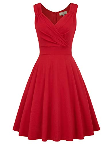 Sexy Robe Rétro Vintage Robe de Cocktail sqans Manche Rockabilly Swing Col V Rouge 3XL CL698-5