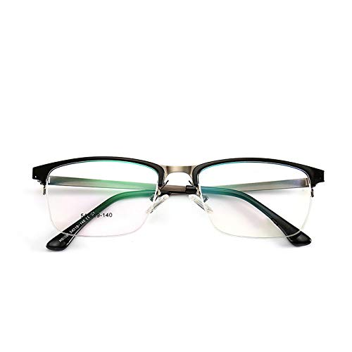 Yangjing-hl Herren Halbrahmen super elastischen Brillengestell Licht Mode Business Männer Flache Spiegel Brillengestell Leuchtend schwarz silbernen Strahl -