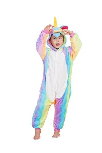 Kreative 3D Einhorn Pyjama Nachtwäsche Cosplay Kostüm Unicorn Schlafanzüge Für Jungen Mädchen (126-137cm, ()