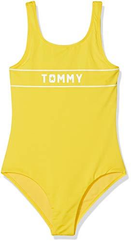 Tommy Hilfiger Mädchen Bügelloser Badeanzug SWIMSUIT, Gelb (Empire Yellow 700), 164 (Herstellergröße: 12-14)