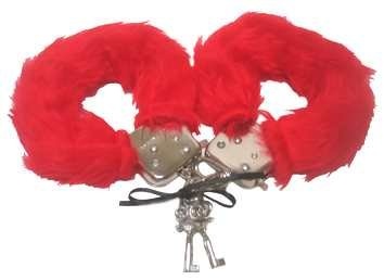 Red Furry Hand Cuffs Love Cuff Sexy Valentines Day Naughty Fancy (Furry Kostüme Amazon)