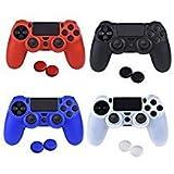 ASIV 4Pz Silicona Fundas Protectores para Mando PS4 (negro + rojo + azul + blanco) + pulgar agarre thumb grip x 8