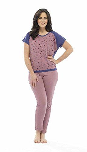 Tom Franks Damen Pyjama, Stern-Print aus Polyester-Baumwoll-Pyjama Schlafanzug lang Rosa - Pink Top