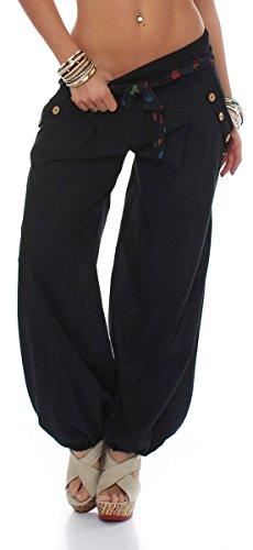 malito Culotte Bouffante classique Design Harem Pantalon Sweatpants Boyfriend pantalon Aladin Yoga 3417 Femme Taille Unique (noir)