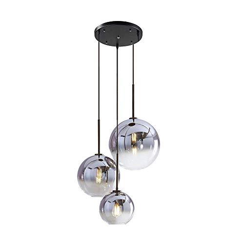 Pendelleuchte Modern Design Runde Hängeleuchte Esstisch Lampe Farbverlauf Glas Lampenschirm, E27 Schraubenhalter Glaskugel Licht Wohnzimmer Esszimmer Kronleuchter Schatten Ion Silber, Ø35CM 3-flammig - 3-licht-moderne Pendelleuchte