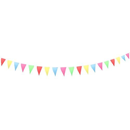 luoem Pennant Banner Flaggen Multicolor Banner Wimpelkette Triangle Pennant Flaggen für Hochzeit Geburtstag Party Festival Dekoration 10m