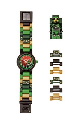 LEGO Ninjago 8021421 Lloyd Kinderuhr mit Minifigur und Gliederarmband zum Zusammenbauen , grün/schwarz , Kunststoff , 28mm Gehäusedurchmesser , analoge Quarzuhr , Junge/Mädchen , offiziell