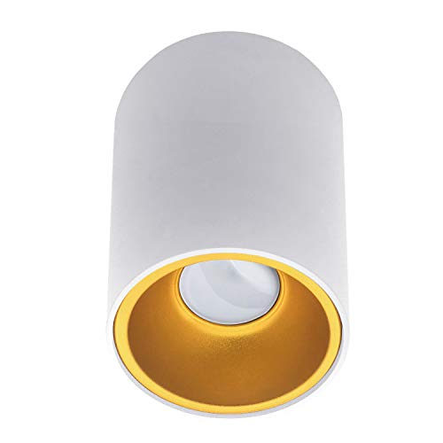 Aufbauleuchte Aufbaustrahler Aufputz SUNNY (rund, weiss/gold) GU10 Fassung 230V Deckenleuchte Strahler Deckenlampe Würfelleuchte Kronleuchter aus Aluminium Spot - ohne Leuchtmittel