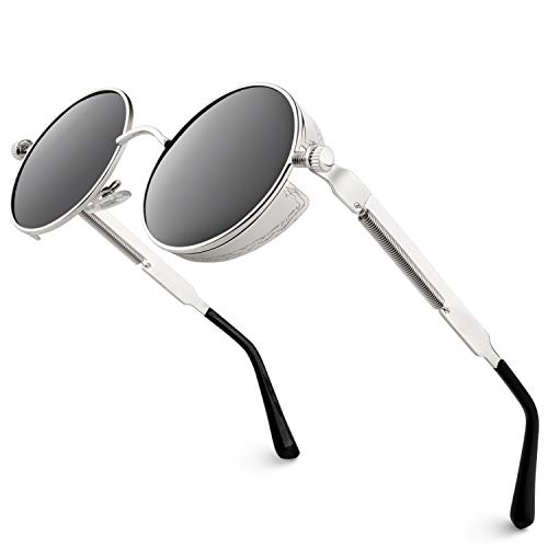 GQUEEN Retro Runde Steampunk Polarisierte Sonnenbrille MTS2 -