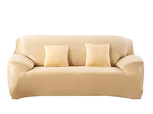 Hotniu copridivano elasticizzato, fodera per divano universale, sofa mobili copertura protettore antiscivolo, ideale per poltrone, divani a 2 3 4 posti (3 posti per 195-230cm,beige)