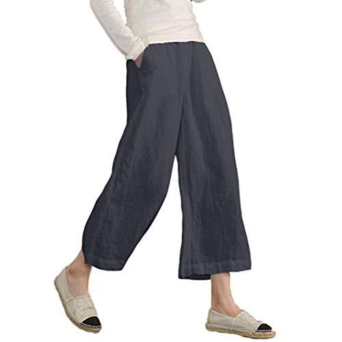 JERFER Damen Elastische Taille beiläufige lose Hose Hose mit weitem Bein abgeschnitten Mode lässig Herbsthose -