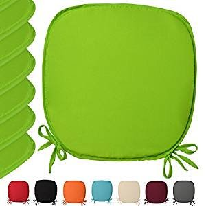 Luxury Garden, Dining Chair Foam Cushions Tie On Seat Pads in set of 2,4,6 or 8 (Pack of 6, Lemon