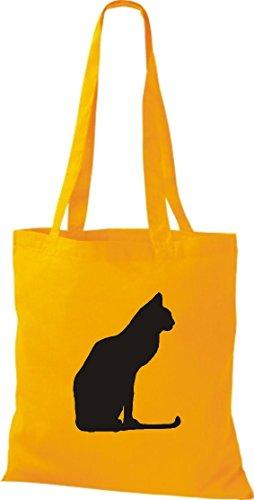 Crocodile chat chaton leur coton sac à bandoulière, sac de plusieurs couleurs Jaune - Jaune