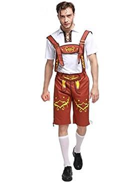 WTUS Lederhose Herren kurz Schwarz| Trachten Lederhose kurz aus edlem Leder perfekt für Oktoberfest oder Karneval