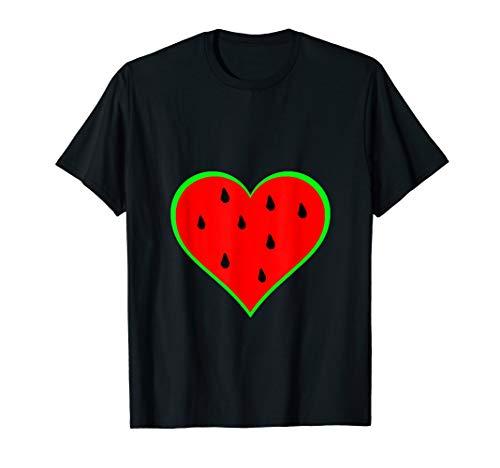 Wassermelone Bekleidung (Wassermelone Herz Sommerfrucht Melonen Frucht Liebe T-Shirt)