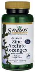 Swanson Advanced Zinc Acetate Lozenges Natural Orange Flavour, 18.75mg, 30 Lozenges from Swanson Health Products