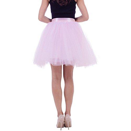 Damier Damen 50er kurz Tüllrock Knielang Tuturock Petticoat Unterrock 50cm Ballettrock Rosa2