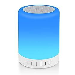 Reawul Nachttischlampe mit Bluetooth Lautsprecher, Touch Nachtlicht Tischlampe mit RGB 3 Touch-Dimmbare Modi und 7 Farben zum Umschalten, Geschenk für Frauen Männer Teenage Kinder