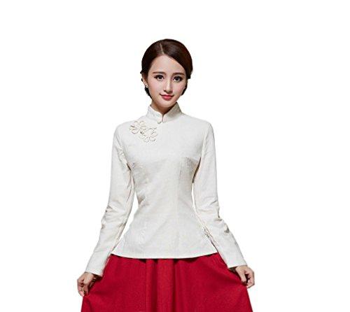ACVIP Rétro Veste de Tang Chemise Devant Fleur Blouse à Manche Longue Style Chinoise pour Femme, Plusieurs Couleurs Beige