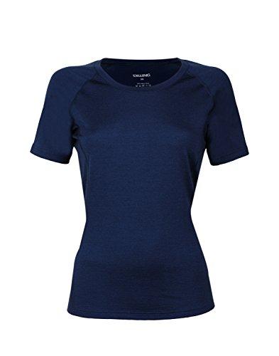 Dilling Merino T-Shirt für Damen - aus 100% extra feiner, hautfreundlicher, exklusiver Merinowolle Dunkelblau 42 - T-shirt Unterwäsche