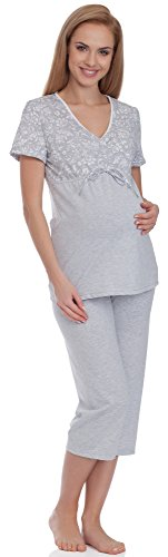 Be Mammy Damen Umstands Pyjama BE20-115 (Grau, XXL)