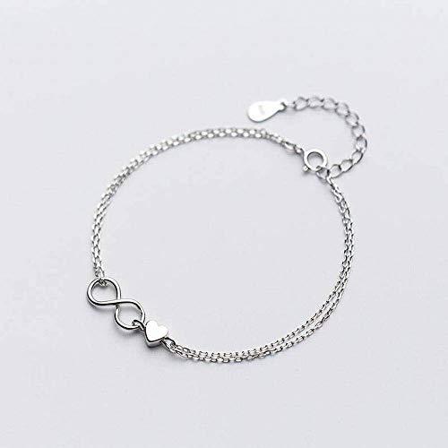 Thumby S925 Silberarmband Weibliche Kleine Doppelte Liebe Herz Unendlich Einfache Herzform, S925 Silberarmband, Einheitsgröße