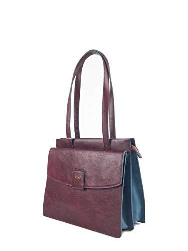 Handtasche Damen Leder Rot Blau Bordeaux Henkel-Tasche Schultertasche Mit Reisverschluss Drcukknopf Vielen Fächern Elegant Designer Jetsetter Luxus Trend Hochwertige Echtleder Ökoleder Nachhaltig GIUD