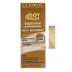 Clairol Colorant permanent Soy4Plex Liquicolor - Couverture du gris à 100% - Blond très clair neutre 12B1 - 59 ml
