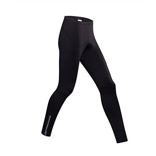 Gwell Homme Pantalons de Cyclisme Polaire Vêtement de Sport Vélo Hiver avec Coussin de Siège 3D Noir