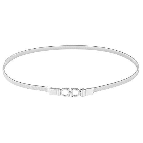 Audixius Damen Metallic Gürtel Feine Kleider Taillekette Elastische Dünn Zubehör Gürtel,Silber