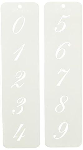 Designer Schablonen C1413,2cm Script Zahlen Kuchen Schablonen, beige/halbtransparent