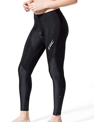 XGC Damen Lange Radlerhose Fahrradhose Radhose Radsportshorts für Frauen Elastische Atmungsaktive 4D Schwamm Sitzpolster mit Einer Hohen Dichte (Black, M)